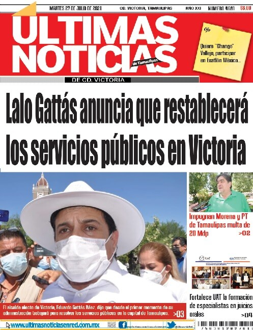 portada ultimasnoticias 27jul21