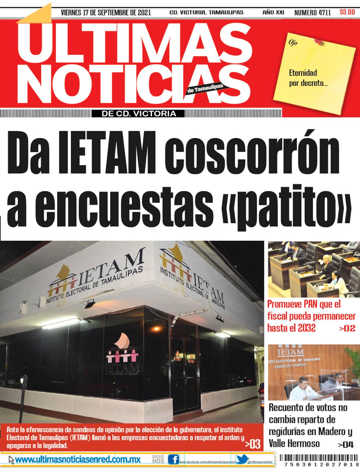 portada ultimasnoticias 17sept21